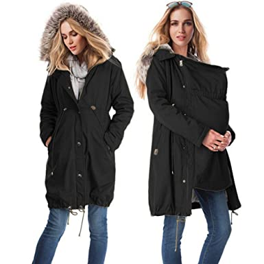 d610e88f242b4 zenicham Women's Stitching Hooded Fur Collar Long Maternity Coat at Amazon  Women's Clothing store: