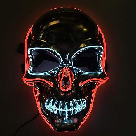 Máscara de Halloween, forma luminosa LED Halloween EL luz fría fantasma festival máscara de maquillaje