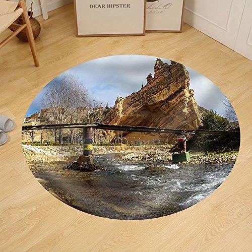 Gzhihine Custom round floor mat Scenic Landscape at Autol Logrono Castilla Y Leon Spain by Gzhihine