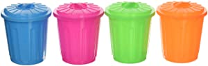 U.S. Toy 3527 Assorted Color Garbage Can Holder Containers (12), Multicolored