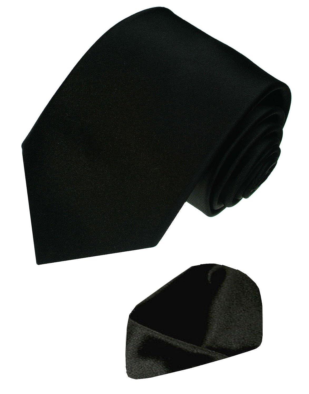 LORENZO CANA 100/% Pure Silk Woven Necktie Hanky Set Plain Black Funeral 8430801
