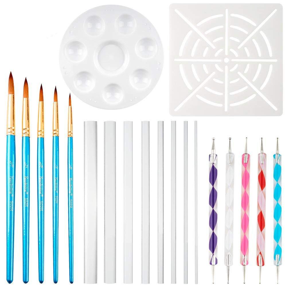 COCODE 20pcs Mandala Dotting Tools for Painting Rocks - 1 x Mandala Dot Painting Stencil, 5 x Mandala Painting Brush, 1 x Paint Tray, 8 x Acrylic Rods, 5 x Mandala Double Sided Dotting Tools