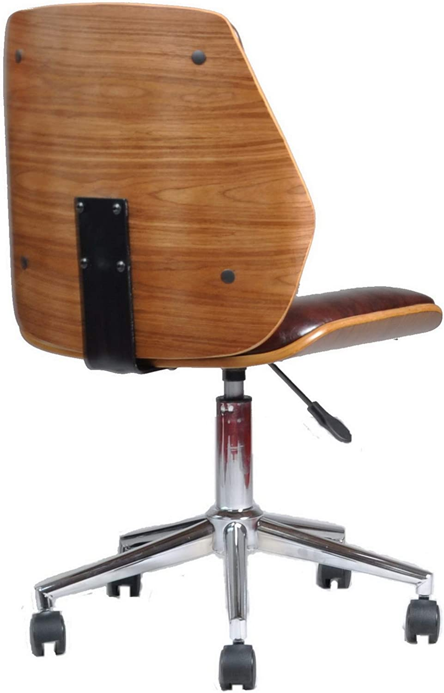 Aspect Finsbury Office Chair Padded Walnut Effect Faux Leather Seat And Chrome Base Wood Brown 56 X 55 X 84 Cm Amazon De Kuche Haushalt
