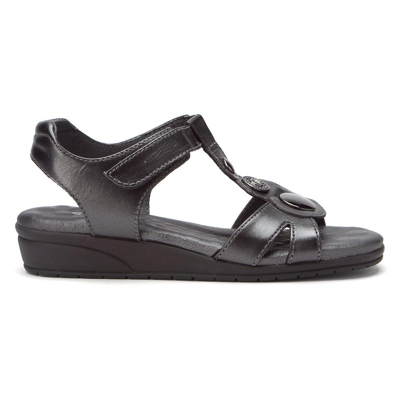 Womens Walking Cradles Venice Sandals Black Leather KXF30721