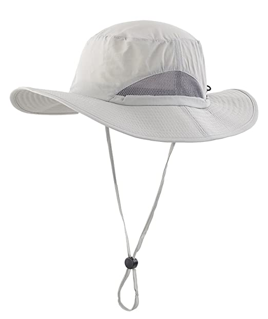 cfdf07ca11c Decentron Daily Outdoor Sun Cap Fishing Hat Camouflage Bucket Mesh Boonie  Hat with String Light Gray(Size  One size)  Amazon.co.uk  Clothing