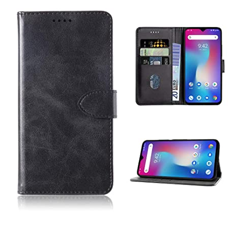 Negro Baiyian Funda de Cuero Cartera Flip Cover Compatible con Ulefone Power 6