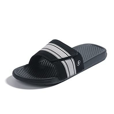 ae4eca7b818e0 FITORY Mens Slides, Adjustable Sandals with Arch Support Comfort Beach  Slippers