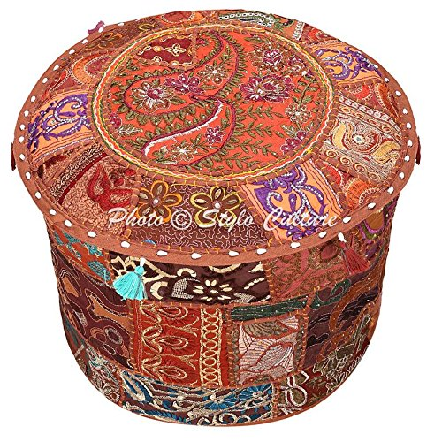 Ethnic Bohemian Patchwork Pouf Cover Round Patchwork Embroidered Pouffe Ottoman Cover Brown Cotton Floral Traditional Furniture Footstool Seat Puff Cover (16x16x13) By Stylo - Made Store In India