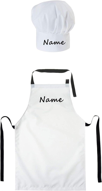 Gorro Cocinero + Delantal de Cocina para niños de niño Bebé de Cocina Ajustable con Velcro Gorro de Chef con Nombre/con Texto Blanco [099]
