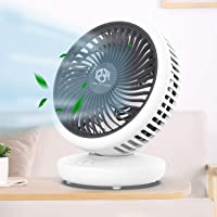 Desk Table Fan, Small Personal Cooling Fan, Quiet Air Circulator 120 Degree Rotation Oscillating Fan with rechargeable…