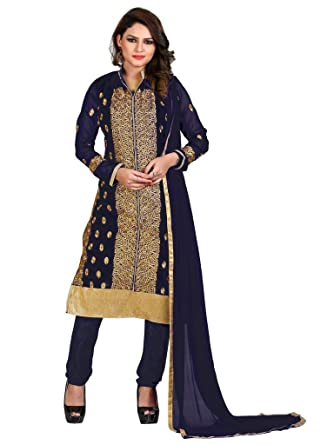 0a874d7bbf Blue Georgette Fancy Embroidered Straight Salwar Suit Unstitched Dress  Materials: Amazon.in: Clothing & Accessories