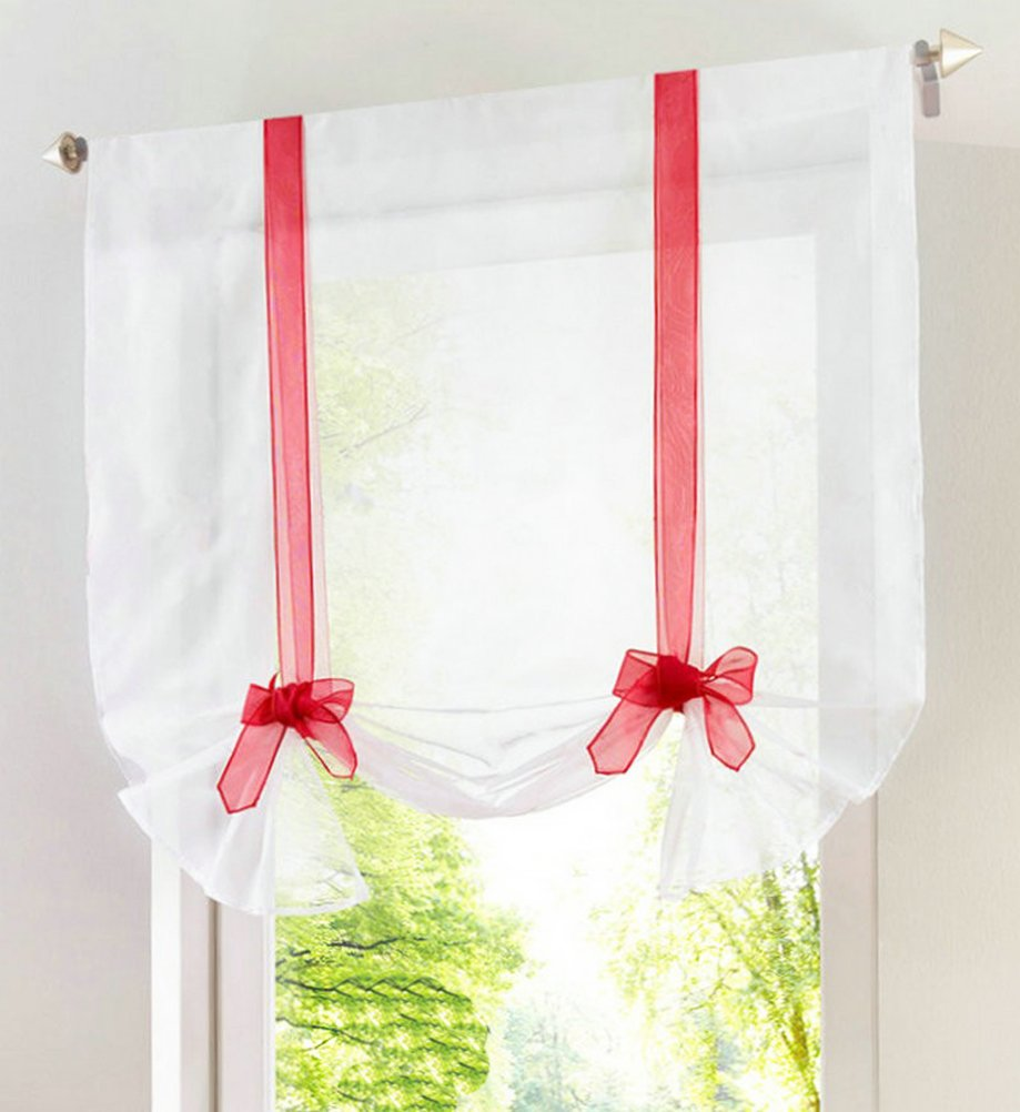 Solid Ribbon Liftable Roman Shades Rod Pocket LivebyCare Sheer Balcony Window Balloon Curtain Voile Drape Drapery Valance Panels for Pub Rest Room
