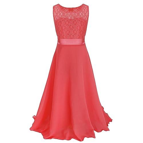 yizyif kids big girls lace maxi long pageant wedding formal chiffon dress - Long Christmas Dresses