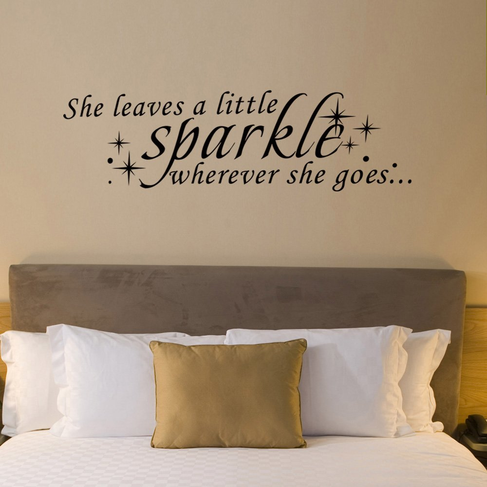 Inspirational Wall Decal Sparkle Wall Quote Vinyl Motivational Lettering  She Leaves A Little Sparkle Wherever She Goes White: Amazon.co.uk: Kitchen  U0026 Home