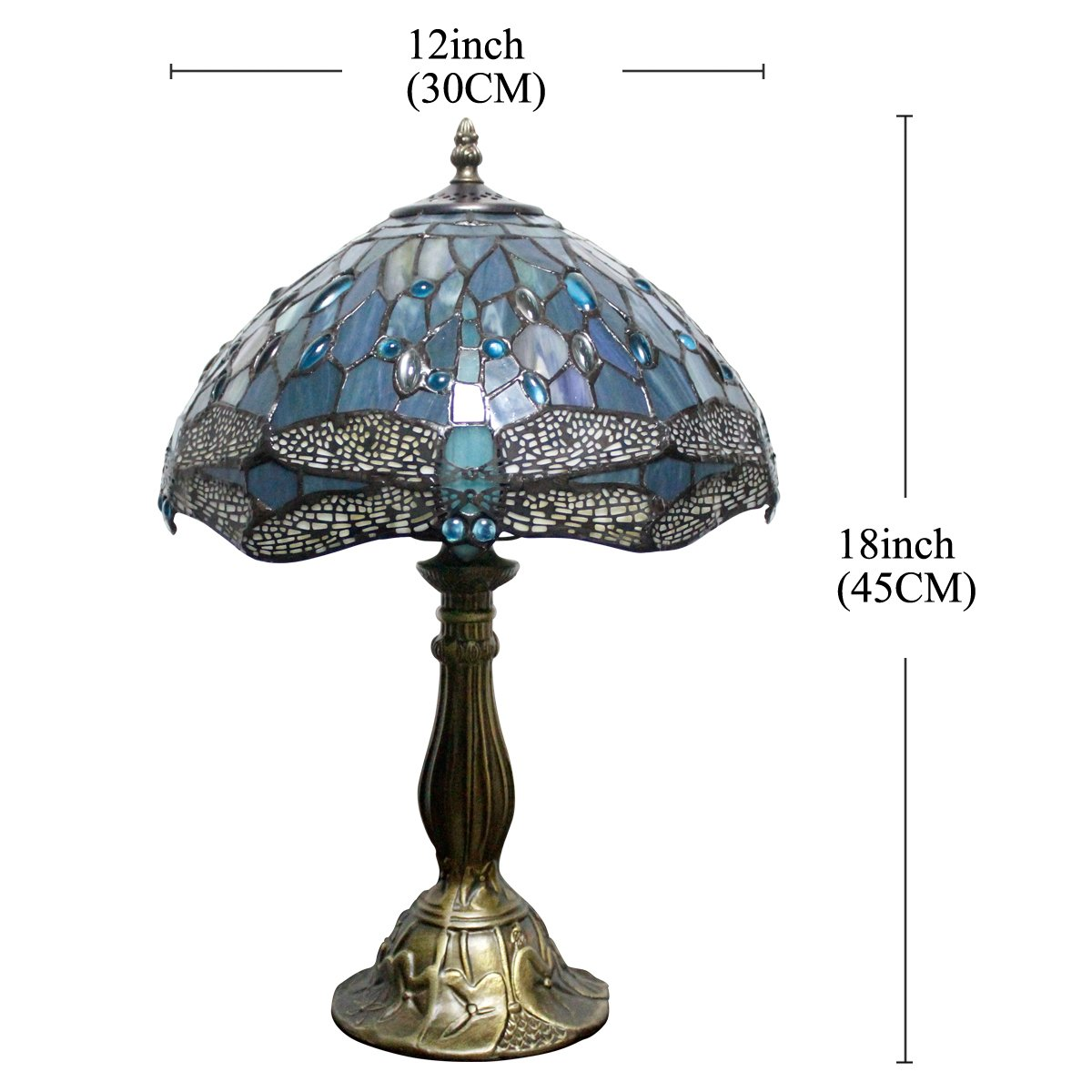 Tiffany Lamp With Sea Blue Stained Glass and Crystal Bead Dragonfly Table Lamp In Height 18 Inch For Living Room by WERFACTORY (Image #6)