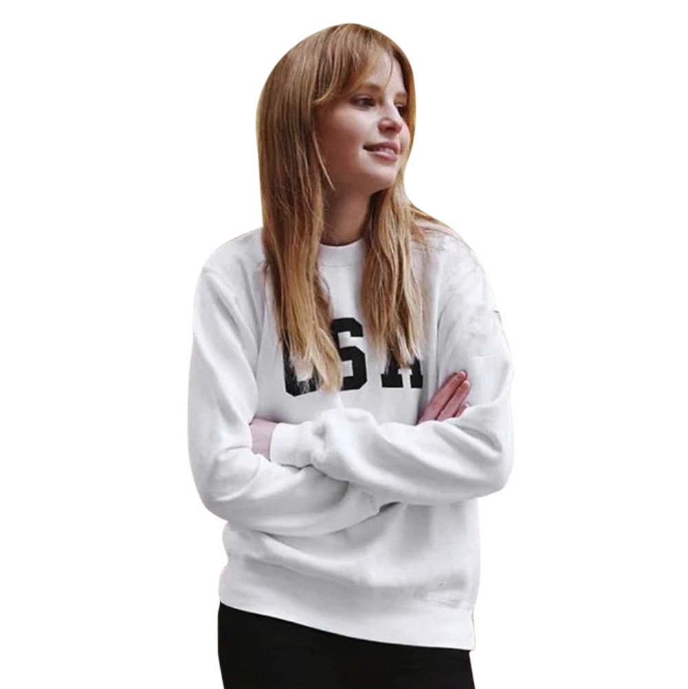 Damen USA Druck Langarm T-Shirt Rundhals Pullover Sweatshirt Oberteil Tops Bluse SEWORLD Damen Langarm Jumper