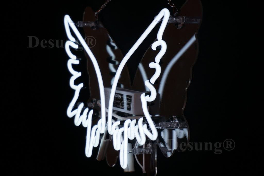 Desung New 24x20 Angel Wings Wall Decor Art Neon Sign Man Cave Neon Signs Sports Bar Pub Beer Neon Lights Lamp Glass Neon Light CX08