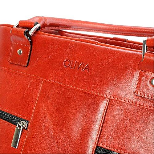 OLIVIA 221-Borsa a mano da donna, in pelle, colore cammello, 39 x 30 x 26 cm