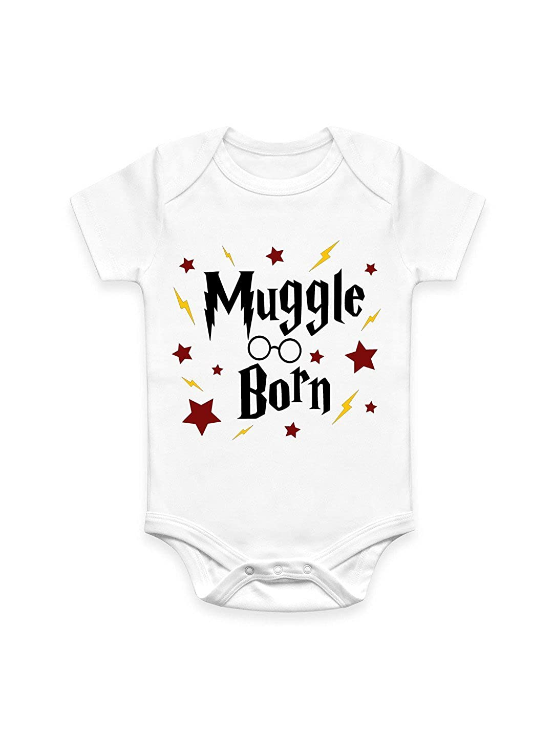 Coco Rascal® Baby Boy Girl Harry Muggle Born Potter Wizard Magic White Cotton Bodysuit Baby Grow Vest (0-18 Months)