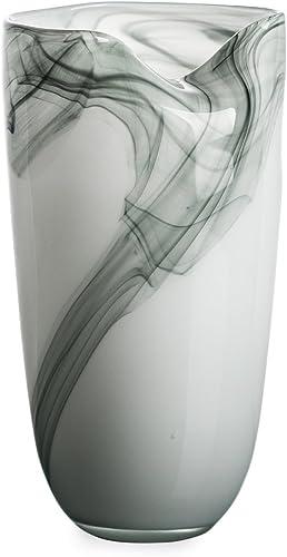 Ballerina Milky Flower Bottle Hand Blown Glass Vases for Home Decorative 14.27 Tall