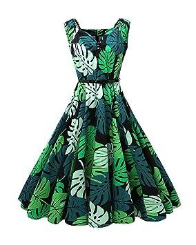 Vestidos Mujer Vintage Vestido Anos 50 Falda Plisada Impresion Floral Swing Vestidos De Fiesta A-