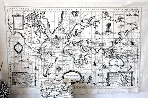 Tapestry Fabric Panel (HomeBuy World Map Linen Fabric - Vintage World Map Print Curtain Material Tapestry 75X145Cm Panel)