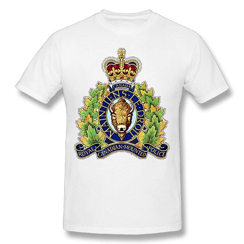 AnnaBGuillaume Mens Comfortable Rcmp Canadian National Police Logo Satire Short T-Shirts Tee White