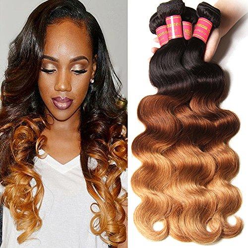 Longqi Hair 6A Grade Ombre Brazilian Virgin Body Wave 100% Human Hair Extensions 3 Bundles 16 16 16inch Fashion Color 3-tone(1b#/4#/27#) 95-100g/piece - Q3 Hair Dryer
