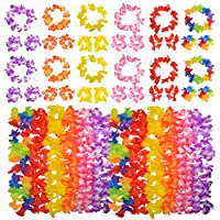 HOVEOX 48 Pcs Hawaiian Elastic Flowers Necklaces Headbands and Wristbands Set Hawaiian Floral Leis Decorations Beach Party Wedding Decorations Birthday Party 6 Color