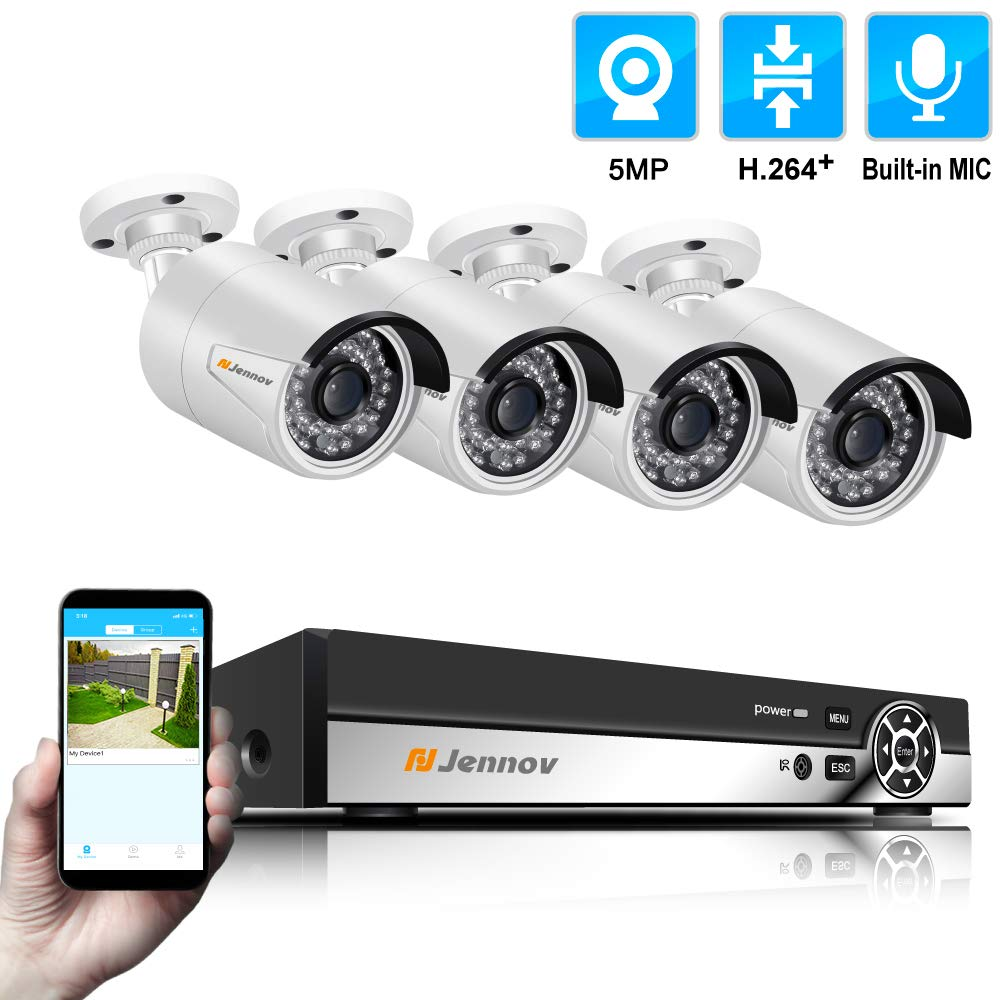 Jennov 4 Channel 5MP Audio POE CCTV Security Camera System H.264 Video NVR Kit with 4 Outdoor 5 Megapixels POE IP Cameras Plug Play Remote View Night Vision HDD not Included