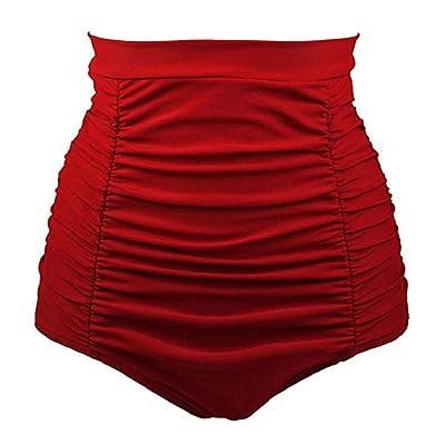 Soufun Women's Retro High Waisted Bikini Bottom Ruched Swim Short Pants Beachwear