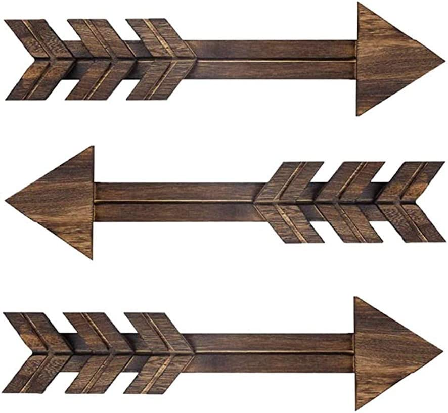 N//A 3 PCS Rustic Wood Arrow Sign Wall Decor, Dark Wooden Arrows Farmhouse and Home Hanging Decoration for Home or Wedding