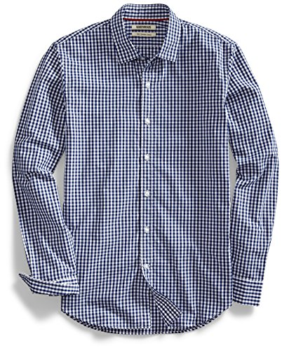 Goodthreads Men's Slim-Fit Long-Sleeve Gingham Plaid Poplin Shirt, Navy/White Micro Check, Large
