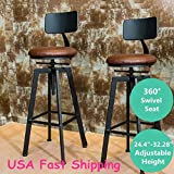 CAVEEN Black and Walnut Finish Industrial Style Adjustable Metal Swivel Bar Stool Retro Rustic Urban Style Cafe Counter Chair