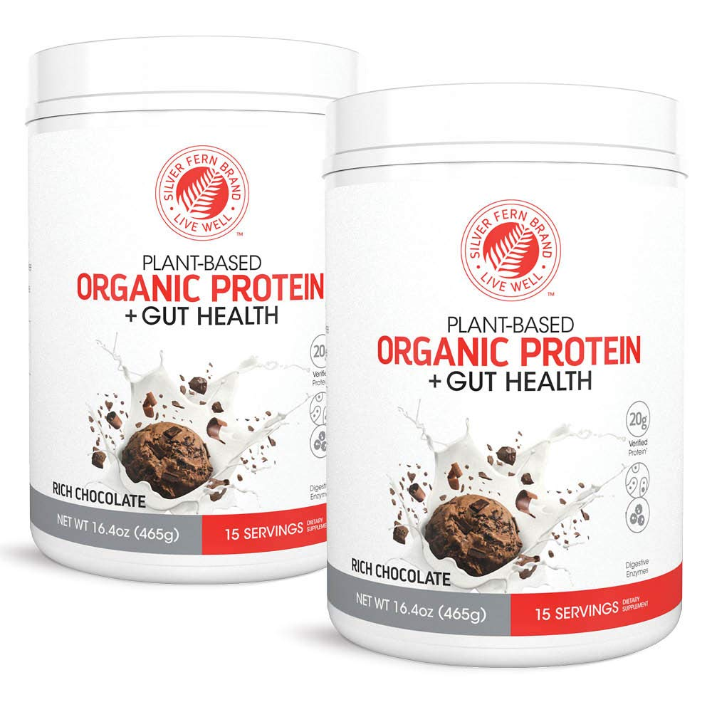 Silver Fern Brand Organic Vegan / Vegetarian Protein Powder Drink Mix - 2 Tubs - 30 Servings - Rich Chocolate - Plant Based - Includes Probiotics & Digestive Enzymes - Max Protein Absorption