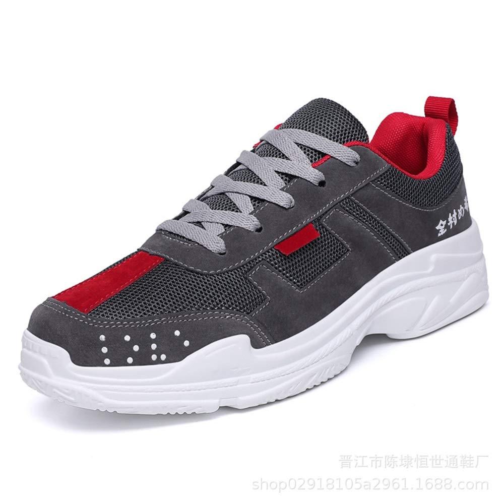 Qiusa Mens Lace up weiche Sohle Schuhe Durable Non Slip Breathable Laufschuhe im Freien (Farbe   Grau, Größe   EU 43)