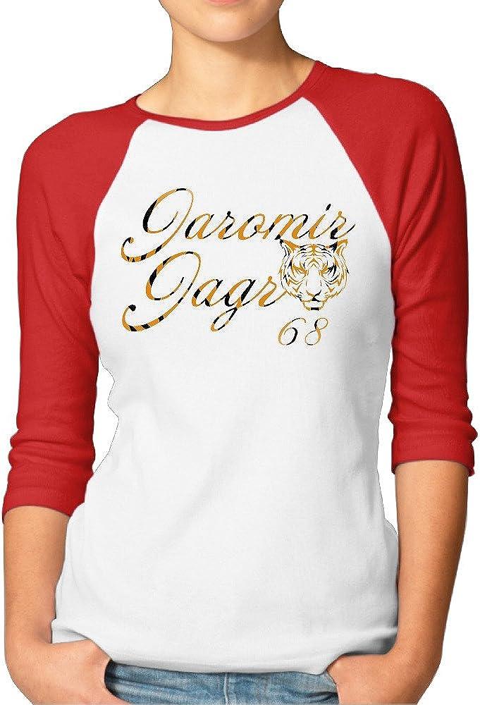 ZZYY Womens Classic JaJagr Tiger NO.68 Print Seven Minutes Of Sleeve T-Shirt Sport Red