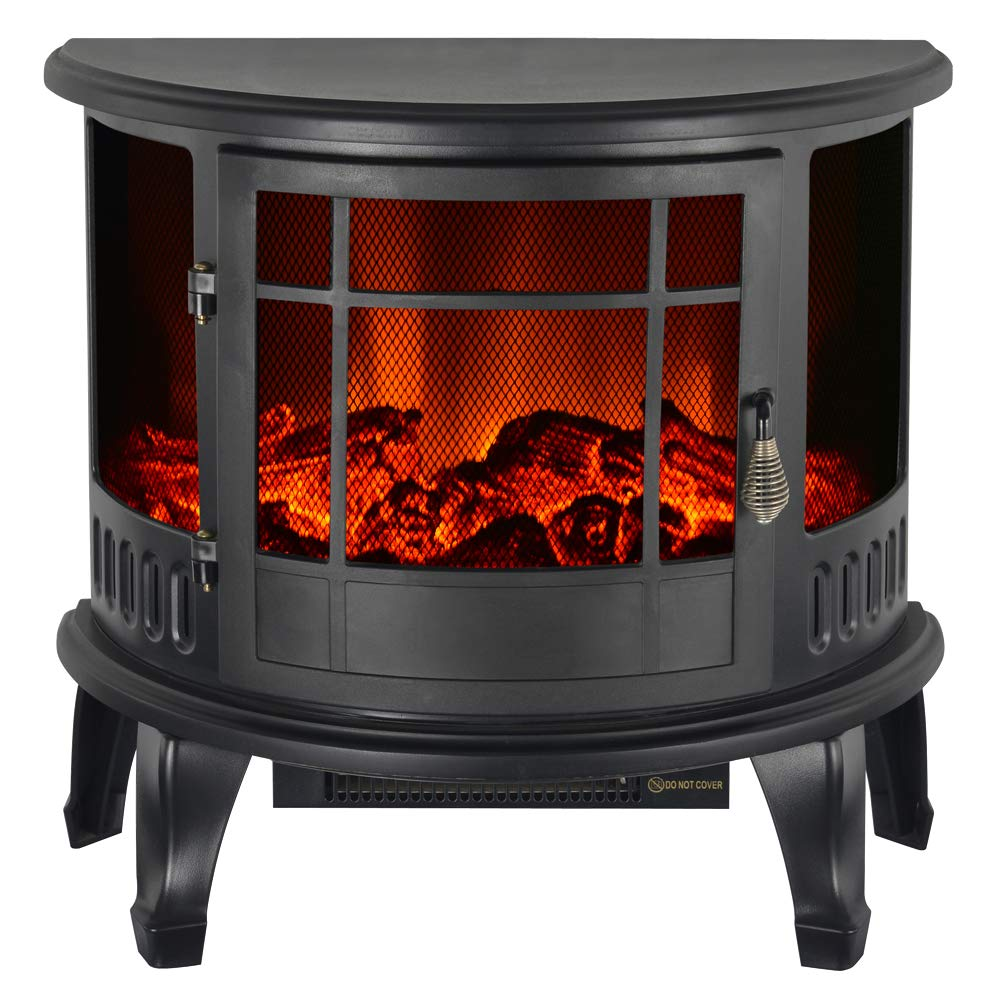 IKAYAA Electric Log Burner, Log Burner Effect Electric Heaters Free Standing Adjustable Flame/Temperature Control 1800W 23