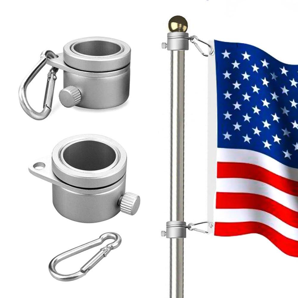 Wrighteu 2PCS Anillos de Montaje de Mástil para Bandera de Aluminio Giratorio de 360 Grados con Mosquetón para Barra giratoria de Bandera de 0,75 - 1,02 cm de Diámetro Wrightus