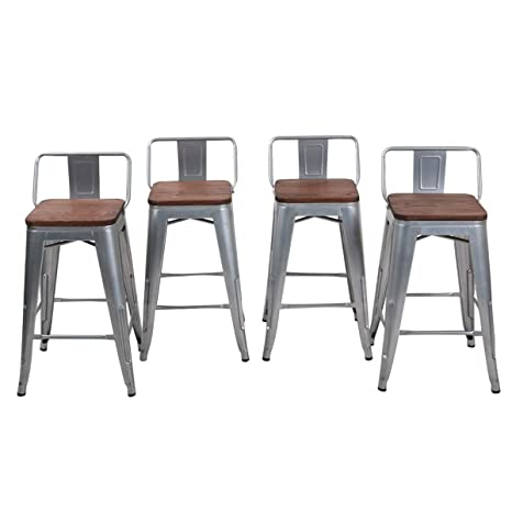 Admirable 26 Low Back Metal Counter Stool Height Barstools Industrial Dining Chair Kitchen Table Chairs For Indoor Outdoor Bar Stools Set Of 4 Silver Gamerscity Chair Design For Home Gamerscityorg