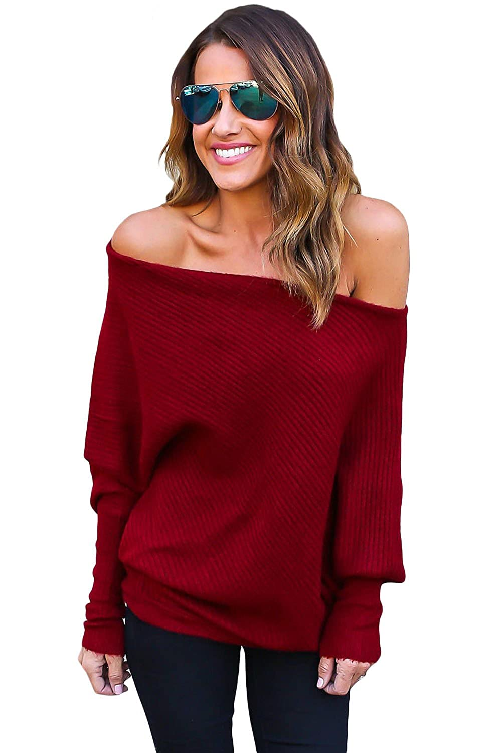 OUR WINGS Women Sexy Off Shoulder Bat Long Sleeves Loose Fit ...