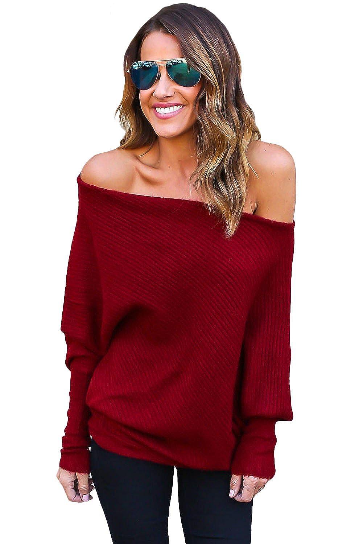 JcXxe Women's Gray Off Shoulder Bat Long Sleeves Loose Fit Sweater ...