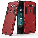 isai V30+ LGV35 / LG V30+ L-01K / JOJO L-02K ケース TopACE 保護フレーム アイアンマン見た目 二重構造 スタンド機能付き 超薄型 超耐磨 最軽量 [ 落下 衝撃 吸収 ] スマートフォンケース isai V30+ LGV35 / LG V30+ L-01K / JOJO L-02K 対応 (レッド)