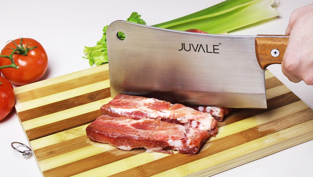 Juvale Stainless Steel Heavy Duty Meat Cleaver/Chopper/Butcher Knife - Solid Wood Handle - Professional Quality - for Home & Restaurant Use - 8 Inches by Juvale (Image #3)