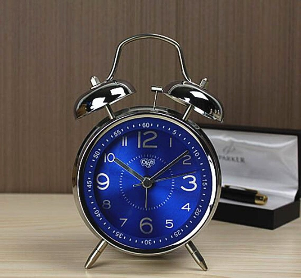 Usany Metal creative double - bell alarm clock mute alarm table luminous electronic alarm quartz alarm clock students to fight the bell