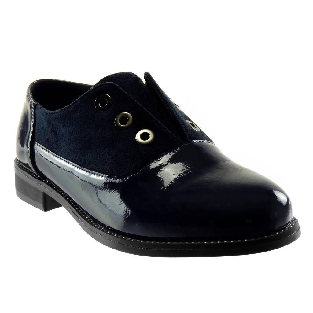 Angkorly - Zapatillas Moda Zapato Derby Bimaterial Slip-on Mujer Patentes Tachonado Perforado Tacón Ancho 2.5 CM 37 EU|Azul Oscuro
