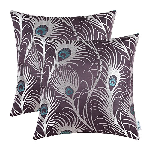 CaliTime Pack of 2 Throw Pillow Covers Cases for Couch Sofa Home Decoration Modern Peacock Feathers 18 X 18 Inches Aubergine (Plum Shams Colored Pillow)