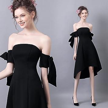 Vestidos De Boda Negros De Las Mujeres del Hombro Vestidos De Fiesta Sin Tirantes Asimétricos Asimétricos