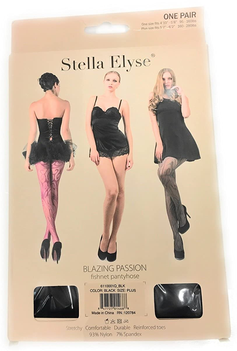 bfb7c65d9 Stella Elyse Women s Blazing Passion Fishnet Pantyhose at Amazon Women s  Clothing store