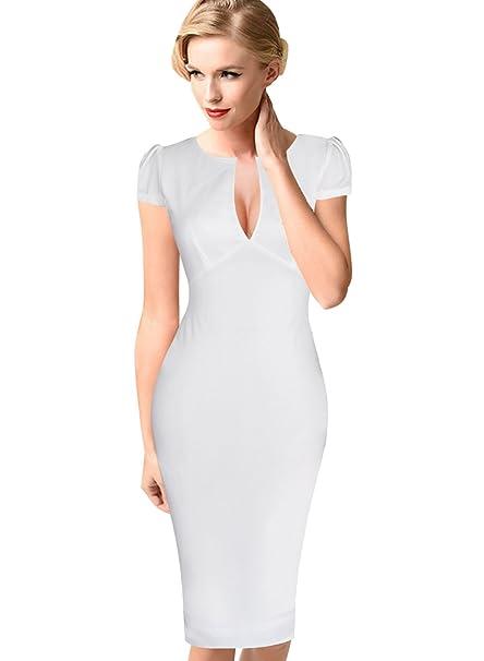VfEmage Mujer Sexy Elegante Cóctel Fiesta Encaje Floral Bodycon Vestido - Blanco -